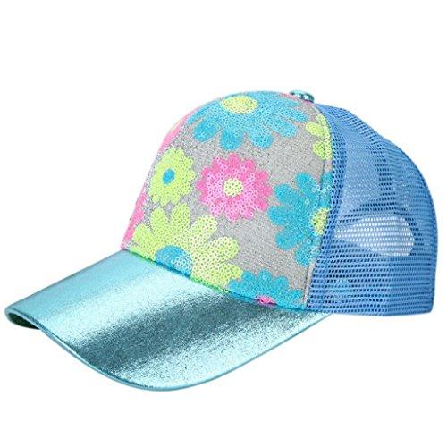 Vovotrade Flor del algodón de béisbol del casquillo del Snapback Niños Niñas Hip Hop sombrero plano (cielo azul)