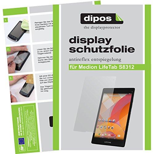 dipos I 2X Schutzfolie matt passend für Medion Lifetab S8312 (MD 98989) Folie Displayschutzfolie