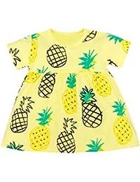 ASHOP Vestido de manga corta con estampado de frutas vestidos de fiesta princesa niña Vestido de Tutú casual vestido de verano Ropa para 0-3 años, Hot sale!