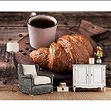 Meaosy Papier Peint Croissant Café Grain Alimentaire Papier Peint, Salon Cuisine Restaurant Fast Food Shop Bar Murales De Café Personnalisées-280X200Cm