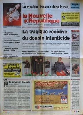 NOUVELLE REPUBLIQUE [No 16313] du 20/06/1998 - LA CONVERSION DE JOSPIN PAR GUENERON - LA TRAGIQUE RECIDIVE DU DOUBLE INFANTICIDE - JOSPIN CHEZ CLINTON - LE MONDE LA MER REND HOMMAGE A TABARLY - LES SPORTS / MONDIAL DE FOOT - TENNIS DE TABLE - 27 SALARIES DE LA CLINIQUE DE ROMORANTIN REINTEGRES A L'HOPITAL - par Collectif