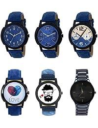 NEUTRON Modern 3D Design Love Beard Style Black Blue And Brown Color 6 Watch Combo (B8-B9-B10-B11-B12-B67) For...