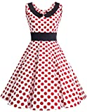 Dresstells 1950er Vintage Retro Rockabilly Cocktail Petticoat Kleider White Red Dot 3XL