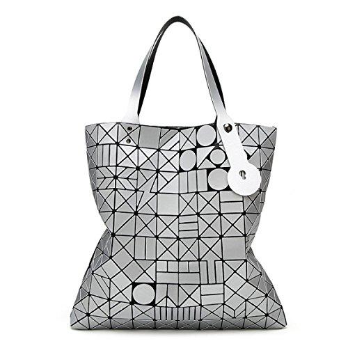 Preisvergleich Produktbild Dame Blitzschlag Geometrische Beutel Runden Kopf Rautenform Heften Falten Umhängetasche Bowstring Schulter Hand Big Bag,Silver-OneSize