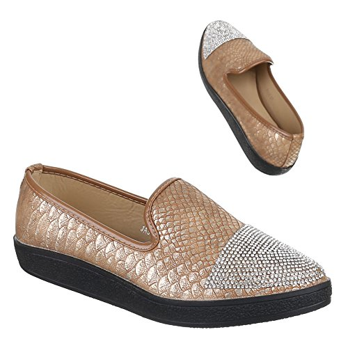 Chaussures pour femme, ja54, halbschuhe Chaussons Or - Gold - gold