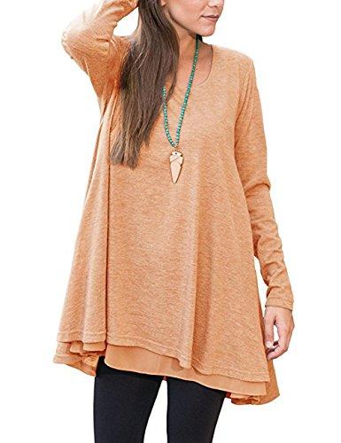 Junshan Femme Top à Manches Longues Tunique Casual Large Pure Color T-shirt Manches Longues Robe Orange