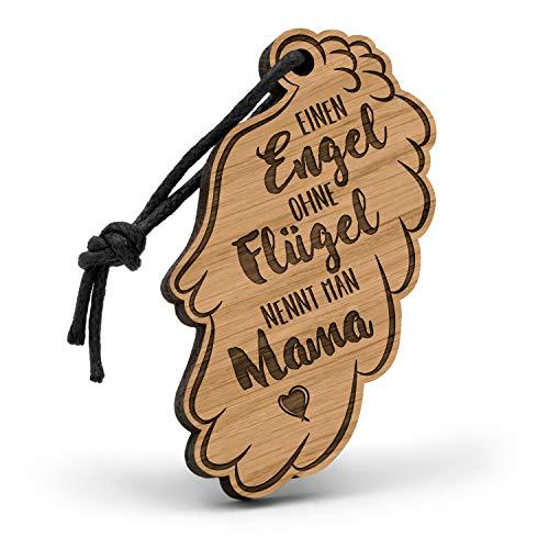 Fashionalarm Schlüsselanhänger Einen Engel ohne Flügel nennt Man Mama aus Holz mit Gravur | Geschenk-Idee für Mütter zum Geburtstag Muttertag, Eiche