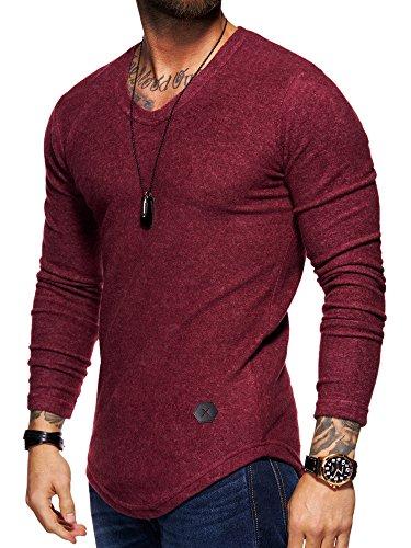 Behype Herren Oversize Basic Sweatshirt V-Neck Pullover 40-3731 Weinrot M