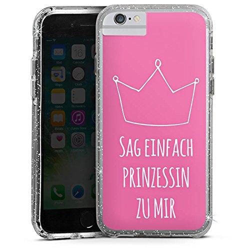 Apple iPhone 7 Bumper Hülle Bumper Case Glitzer Hülle Prinzessin Princess Girl Bumper Case Glitzer silber