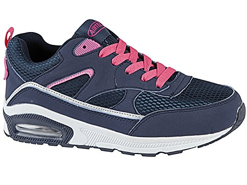 Ladies Concept Air Bubble Max 90 Running Trainer RUSHOUR Fitness Shock Absorbing Sports Gym Shoes Size 3-8 (UK 8, Navy Pink)