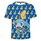 Pokémon Espada y Escudo Novedad Camiseta de Manga Corta Unisex Impresión 3D Tops de Verano Ocio al Aire Libre Traje Deportivo Camisetas de Playa,D,M