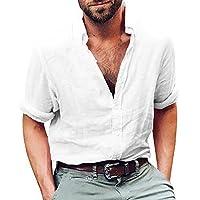 Gemijacka Linnen hemd heren regular fit button-down zomerhemd lange mouwen & korte mouwen heren overhemd vrijetijdshemd heren