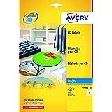 Avery España C9660-25 - Pack de 25 folios de etiquetas brillantes para CD, diámetro 117 mm, color blanco