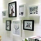 Massivholz Fotowand moderne kreative 7 / Frame Foto Wandbehang Set Foto Wand Anzug ( Farbe : Schwarz+Weiss )