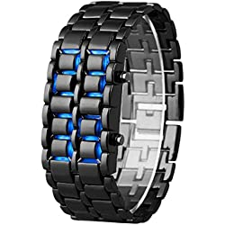 Mens Watch Metal Strap Lava Style Digital LED Display
