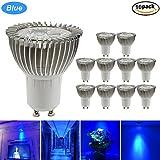 GreenSun LED Lighting GU10 3W Reflektorlampe LED Lampe Spotlicht Strahler Licht Lampen Leuchte Glühbirne Birne Halogenlampe Birnen Leuchtmittel, AC 220V, 10Stk. Blau-Lichtfarbe