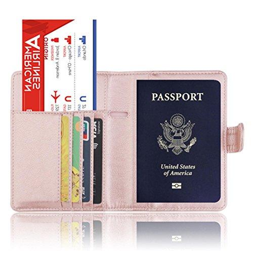 SOMESUN Reisepass Schutzhülle, Reisepass Hülle Ausweishülle Kartenetui Premium Kunstleder Passhülle Halter Brieftasche mit RFID Blocker (Schwarzes Halter Leder Reisepass Etui)