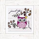 Artland Imagen sobre lienzo de imagen de marco de madera Vintage Canvas Finito sobre tabla de fibra de madera Jule solo para niña–Búho Animales Pájaros búho digital Arte Blanco 50,4x 50,4x 1,7cm