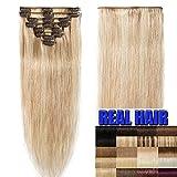 Clip In Extensions Echthaar 40cm - Remy Haarverlängerung 8 Tressen 65g - (#18/613 Light Aschblond/Weißblond)