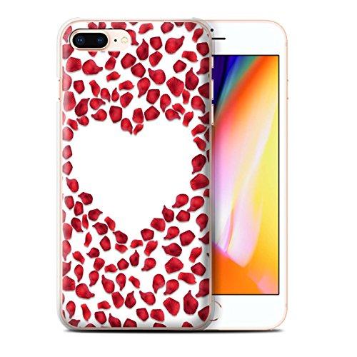 Stuff4 Hülle / Case für Apple iPhone 8 Plus / Rote Herzen Muster / Valentine Herz Kollektion Rote Rosenblätter