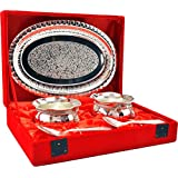 Indian Craft Villa Handmade Silver plated Handi Set (Silver)