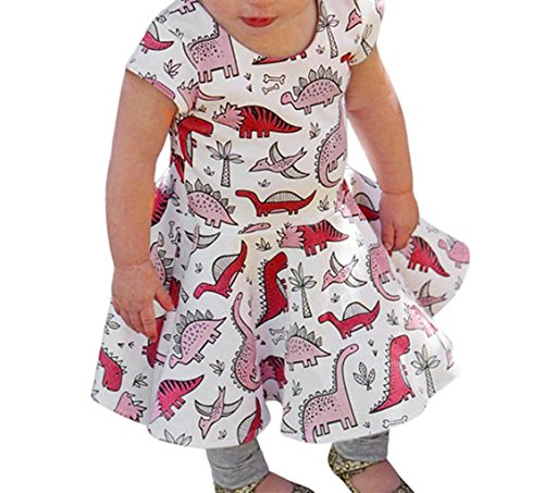 SHOBDW Girls Dresses, Kids Baby Cute Cartoon Dinosaur Print Sun Short Sleeve Dress Clothes Toddler Summer Outfits