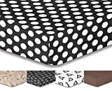 DecoKing Premium 95799 Spannbettlaken 200x220 Steg 30 cm schwarz geometrisches Muster Bettbezüge Microfaser Bettwäschegarnituren Hypnosis Pin Up