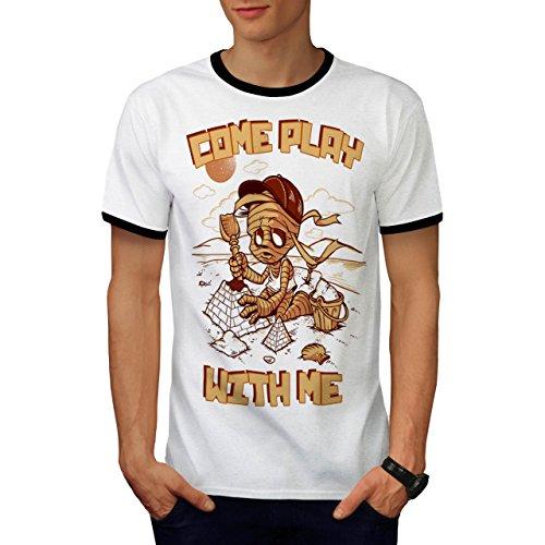 Kommen Sie Spielen Mit Mich Zombie Mumie Kind Herren M Ringer T-shirt | (Kopf Kostüm Vogelscheuche Kürbis Mit)