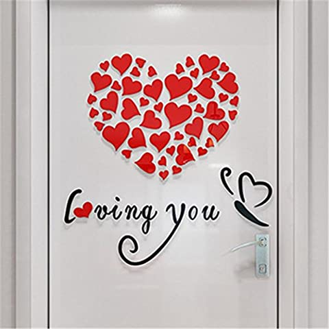 Indexp Removable 3D DIY Love Heart Wall Sticker Room Decoration Vinyl Decals(0.4x0.4M) (Red)