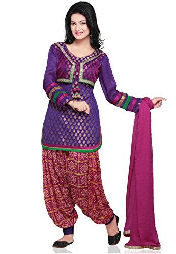 Utsav Fashion Plain Straight Cut Jacket Style Chanderi Brocade Suit in Purple...