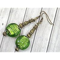 Venezia Bronze Ohrringe mit flachen Perlen in grünem Muranoglas