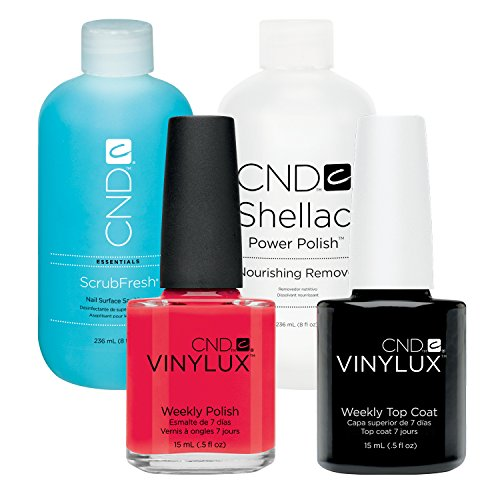 CND Vinylux Lobster Roll plus Top Coat 15 ml plus Shellac Remover 236 ml plus Scrub Fresh 236 ml, 1er Pack (1 x 0.502 l)