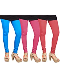 CAY 100% Cotton Combo of Pink, SkyBlue and Baby Pink Color Plain, Stylish & Most Comfortable Leggings For Girls & Women with Full Length (SIZE : Free Size)