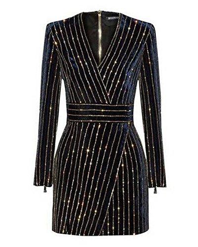 Whoinshop Damen Langarm Bleistiftkleid Partykleid Bodycon Figurbetontes Kleid MiniKleid mit Pailletten Wulstige Schwarz M