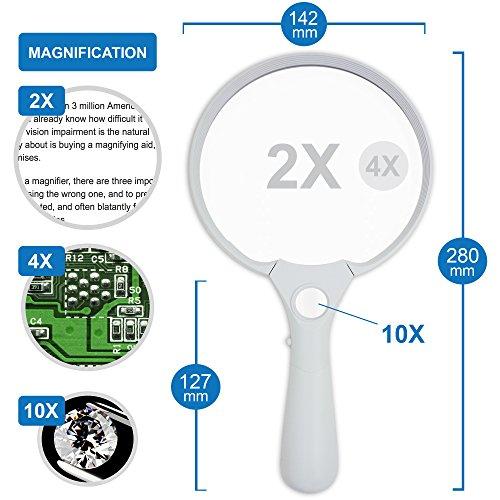 Fancii Extra große LED Handlupe mit Licht zum Lesen, 2x 4x 10x Fach Vergrößerung - Beste Jumbo Größe Beleuchtete Leselupe Vergrößerungsglas für Bücher, Zeitungen, Landkarten, Münzen, Schmuck, Hobbies - 3