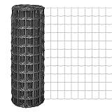 Festnight Gartenzaun Maschendraht Gitterzaun Schweißgitter 10×0,8 m mit 100×100 mm Maschenweite Stahl Grau