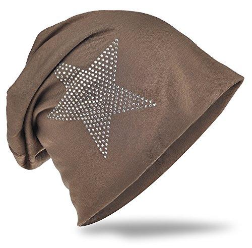 StrassStern Jersey Slouch Beanie Long Mütze Stern mit Strass Applikation Unisex Unifarbe Herren Damen Trend Hellgrau Graubraun