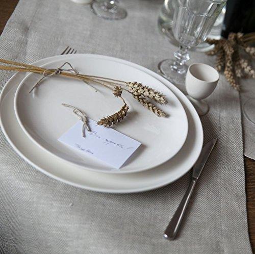 inen Herringbone (40x140cm oder 40x190cm), Weiß (Großhandel Tischdecken Für Hochzeiten)
