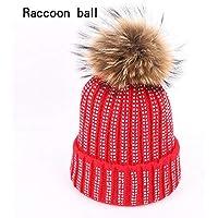 BLACK ELL Otoño e Invierno de Punto Gorras de algodón al Aire Libre Sombreros de esquí señoras Pompones de Piel de Mapache, 5