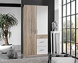 lifestyle4living Kleiderschrank, Schlafzimmerschrank, Wäscheschrank, Drehtürenschrank, Schrank, weiß, San Remo Eiche Nachbildung, 2-türig
