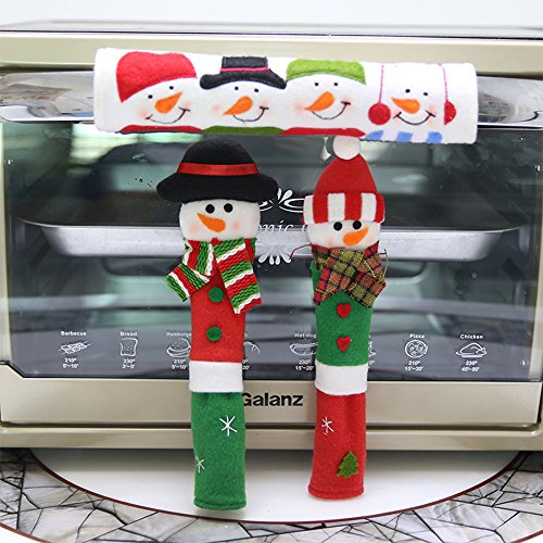 Laza Weihnachten Kühlschrank Griff, 3Stück Schneemann Küche Appliance Kühlschrank Griff abdeckt, für Küche Weihnachten Dekoration Set1