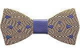 Papillon in legno di ciliegio con nodo in pelle accessori moda cerimonia mod. polygonal blue