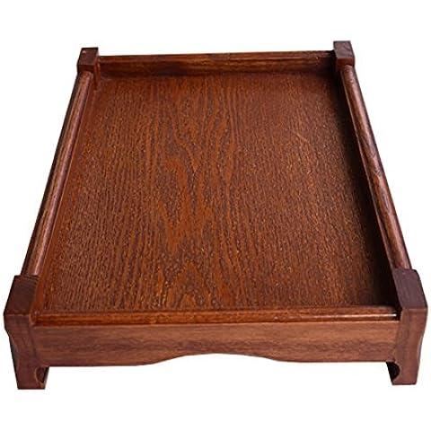Dillman cocina bandeja rectangular Butler de madera bandeja para servir con asas, madera, marrón,