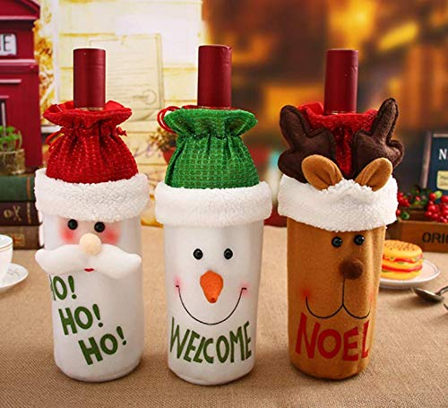 Set di 3 Christmas Red Wine Bottle Cover Decorazione Natalizia Vino Sacchetto Regalo