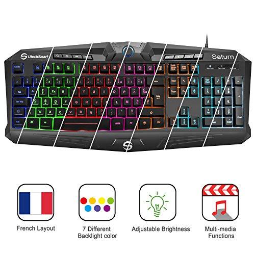 {French layout} UtechSmart Saturn, Hintergrundbeleuchtung mit 7 Farben, USB-Multimedia-Spieletastatur, Wasserdichte Entwässerungslöcher, 19 Nicht-Konflikt-Tasten