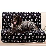 my fellow XXL Hundedecke Haustierdecke Wasserdicht Waschbar 100x150 OekoTex Pfoten Schwarz Grau f. Auto Couch Sofa Outdoor