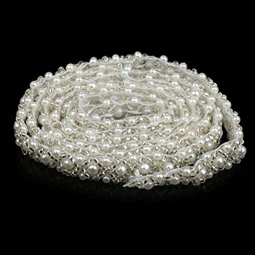 Applique Perlen (Frcolor Crystal Strass Perlenbesatz Perlen Trim Hochzeit Applique Trim (weiß))