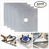 Confezione da 4 coperture di protezione per fornelli a gas, riutilizzabili, antiaderenti, lavabili in lavastoviglie, fogli protettivi per stufa