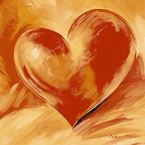 Artland Poster Kunstdruck aufgezogen auf Holz-Platte Wand-Bild Anton Maller Rotes Herz Liebe & Herzen Malerei Orange 49 x 49 x 1,2 cm