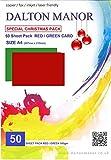 Dalton Manor50 planches de cartonA4160g/m² pour cartes de Noël, rouge/vert